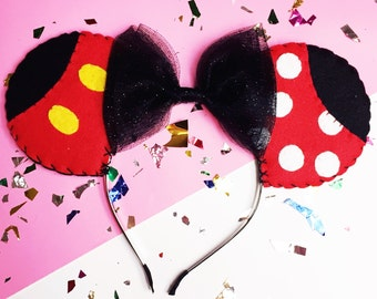 Minnie and Mickey Mouse Themed Ears Headband with Black Glitter Tulle Bow