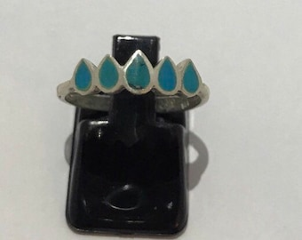 Ring in 925 silver and turquoise available in size 4 1/2 - 5 1/2 - 7 1/8 - 8
