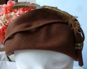 Vintage Hat Awesome Tan W/ Rhinestones & Feather Hatpin Glenover  Hat Vintage Photo Shoot  Prop Hat Vintage Hats By Vintagelady7