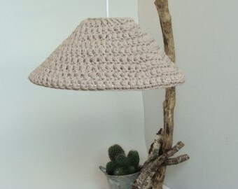 Pendant light with crocheted Zpagetti hood.