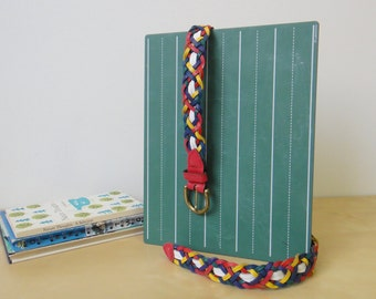 Vintage Rainbow Leather Woven Belt - Size ML
