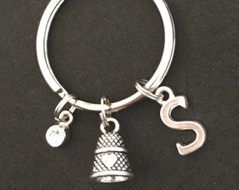 Personalized Thimble Keychain Thimble Lover Gift