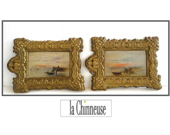 2 miniature paintings to the oil late 19th - early 20th century / french miniature Painting / Collectible /.