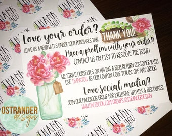 Love Your Order? Leave Us A Review - Thank You Cards - Marketing Cards - Customer Appreciation Cards - Review Cards