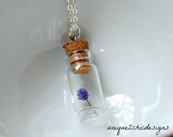 Tiny Flower Necklace, Mini Flower Necklaces, Glass Jar Necklace, Vial Necklace, Nature Necklace, Valentine's Day Gift, Flower Jewelry, Love