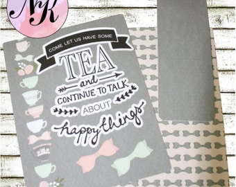 Planner Cover with Tea Quote, Planner Cover, inspiration print, Framable, use with Erin Condren Planner(TM), Happy Planner, Travelers NB