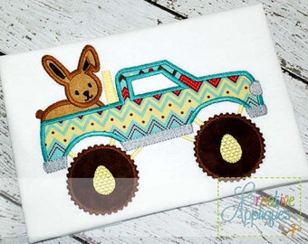 Easter Bunny Rabbit Monster Truck  Digital Machine Embroidery Applique Design 4 Sizes