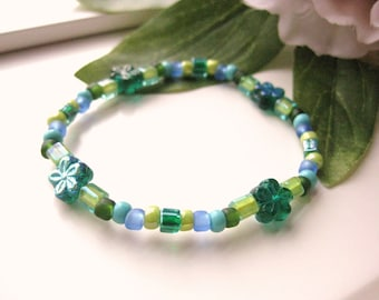 Girls Bracelet, Blue and Green with Green Flowers, Large, GBL 167