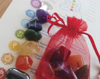 Chakra Healing Crystals  7 Chakra Healing Crystals with Chakra Sheet (Colorful)