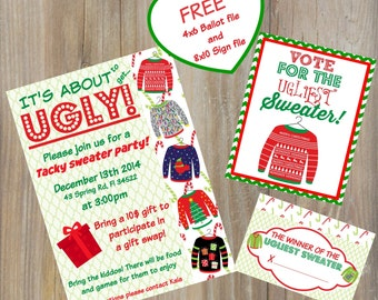 CHRISTMAS Party INVITE -  Ugly Sweater party invitation, tacky sweater invitation, jpeg file, Free Contest Ballot
