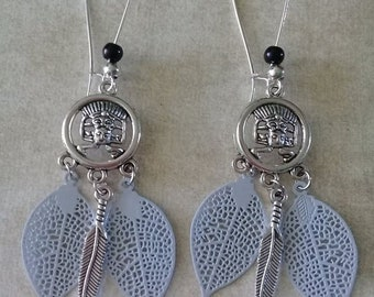 "Earrings ""Aztec"" silver and pearls"
