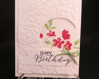 Happy birthday petal etsy floral embossed hand stamped greeting card m4hsunfo