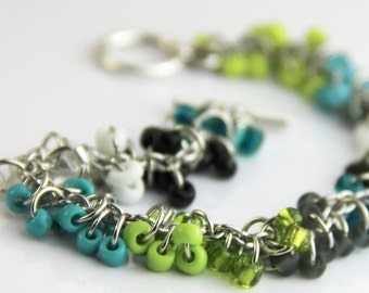 Modern Colorblock Cluster Bracelet - Colorful Teal Blue Turquoise Lime Green Black White Glass Beaded Silver Bracelet