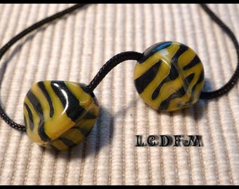 * ¤ Set of 2 beads knucklebone * Zebra * black and yellow - 16x12mm ¤ * #P16