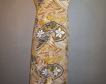 Vintage Hawaii, Handsewn Hawaiian Midi Dress, Off Shoulder Dress, Sleeveless, Mid Back Metal Zipper, Mid Calf Length, 30-32 waist