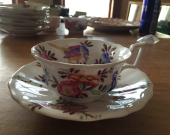Copeland Spode cup and saucer pink blue flowers and birds NICE
