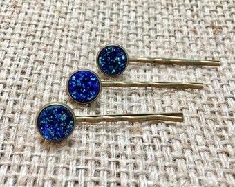 Blue Druzy Hair Pin Set, Druzy Hair Pin, Metallic Hair Pin, Druzy Hair Barette, Faux Druzy Hair Pin, Gemstone Hair Pin, Druzy Bobby Pin