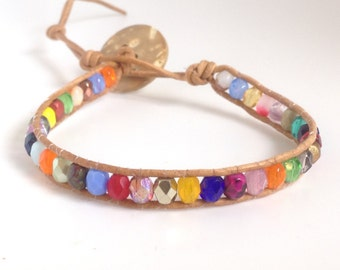 Multiple color Bohemian Wrap bracelet czech glass beads and leather cord