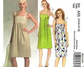 McCalls M5315 Sewing Pattern Misses Empire Waist Sleeveless Dress Inverted Pleats sz 4 thru 12 Uncut