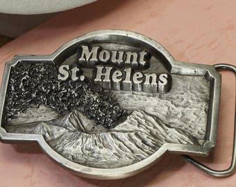 Mount St. Helens Solid Metal Belt Buckle Volcano Vintage 1980