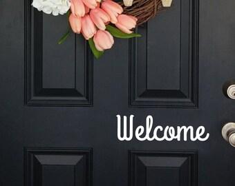 Door decal, Welcome decal, front door decal, Welcome door decal, door vinyl