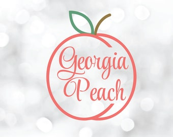 Georgia Peach digital file for scrapbooking, greeting card, decals, projects, DIY clipart word art decorations