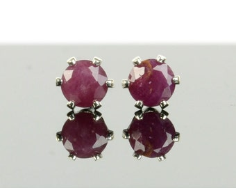 Ruby earrings, sterling silver and 4mm ruby studs, red gemstone earrings, July birthstone jewellery, birthstone earrings, gift for women