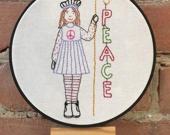 PEACE embroidery pattern PDF