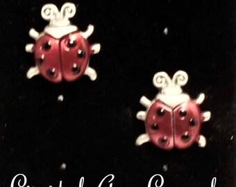Lady bug clutch pin, Lucky charm pin,
