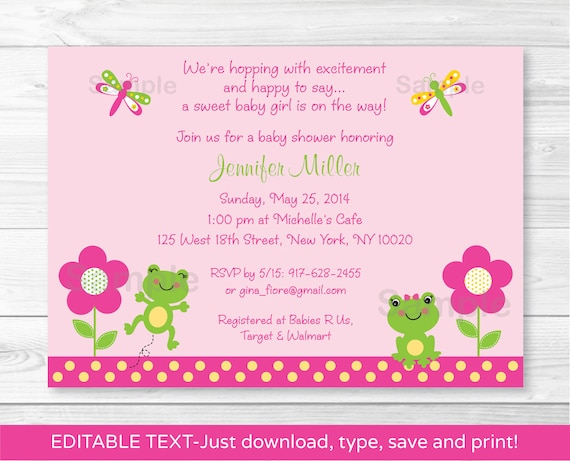 Cute pink frog baby shower invitation frog baby shower cute pink frog baby shower invitation frog baby shower invite dragonfly baby shower invite instant download editable pdf a341 filmwisefo Images