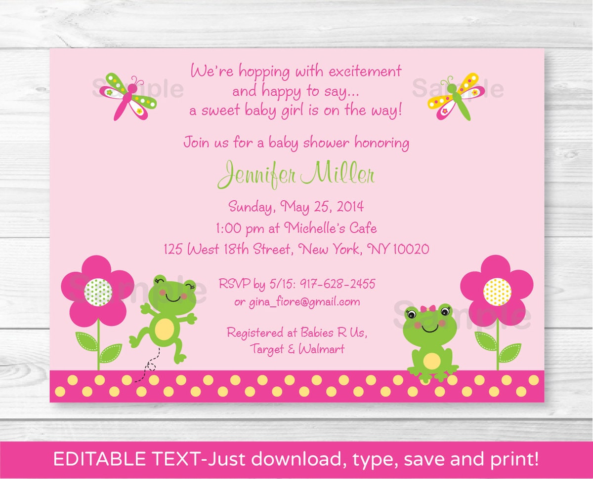 Cute Pink Frog Baby Shower Invitation / Frog Baby Shower