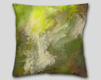 Olive lime green, Accent Pillow, Abstract art, Throw pillow, Designer, Home decor, Cushion, Cover Case finished, Sofa Couch, Decorative
