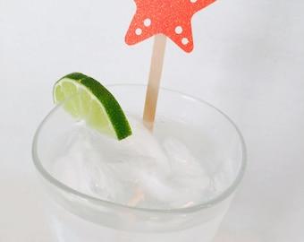 15 Starfish Swizzle Sticks - Drink Stirrers - Under the Sea - Nautical - Beach - Ocean - Birthday Party - Mermaid Party - Baby Shower