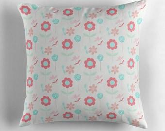 Floral cushion, Floral Throw pillow, flower cushion, floral decor, pink pillow, sofa cushion, floral home, summer cushion, summer flowers
