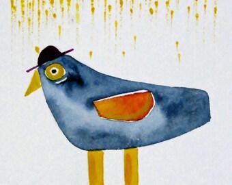 Folk Art Bird Painting - Watercolor Bird - Bird Illustration - Illustration Art - Bird in Boots - Blackbird- Rainy Day Art - Nursery Decor