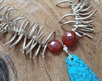 Thai Silver Claw Necklace   Kingman Turquoise    Carnelian   Genuine Ruby   Tribal   Bohemian