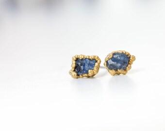 Raw Sapphire Earrings, Delicate Earrings, September Birthstone Earrings, Raw Crystal Earrings, Sapphire Stud Earrings, Tiny Stud Earrings