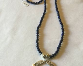 lapiz lazuli and silver necklace