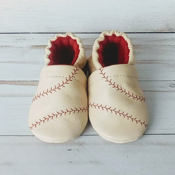 Baseball: Leather Soft Sole Baby Shoes 0-3M