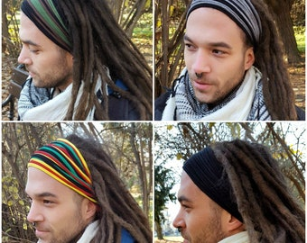 Dreadlock Headband for Men Dreadlock Hair Wrap  Multistrand Tube Mens Headband Dreadlock Accessories Wide Head Wrap Dread Wrap Burning Man