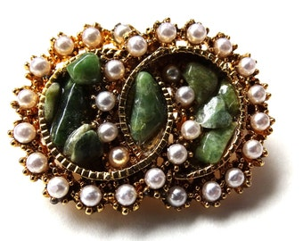 Double circle brooch. faux jade and  faux seed pearls marked exquisite.Gold tone back.