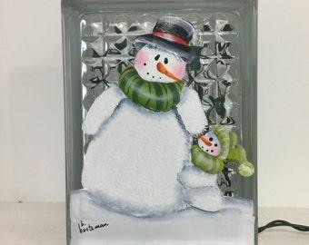 Glass block night light-snowman with little snowman