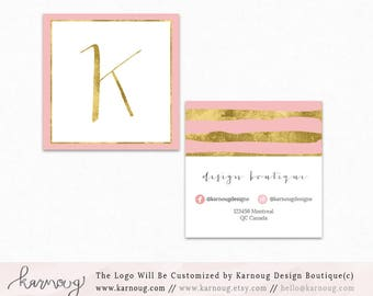Watercolor business card template gold printable business card square pink business card design watercolor business cards custom business cards printable business cards gold printable flashek Image collections
