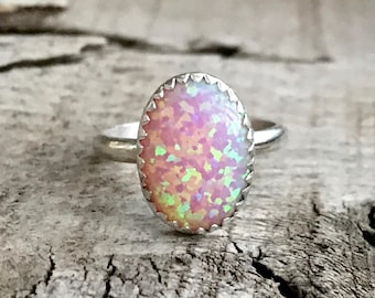 Large Oval Simulated Pink Opal Elegant Birthstone Ring in Sterling Silver | Opal Ring | Boho | Rocker | October Birthstone Ring