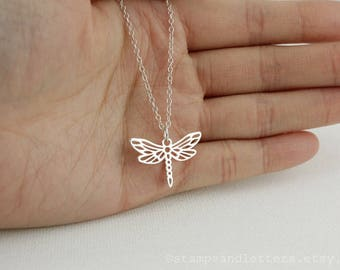 Silver Dragonfly Charm Necklace - Dragonfly Pendant - 925 Sterling Silver