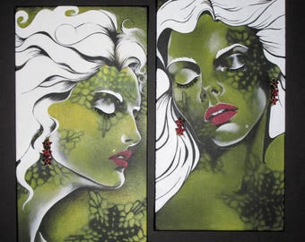 Colorful Mixed Media 3D canvas Original Painting Acrylic Diptych Portrait