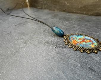 Cabochon necklace, Bohemian Medallion pendant