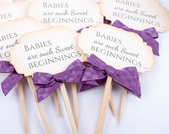 Baby Shower Toppers Party Picks Purple Cupcake Toppers Decorations Food Decoration  Baby Royal Purple Gold Shower Party Supplies, Set of 12