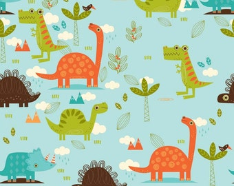 Laminated Cotton aka Oilcloth HEAVYWEIGHT splat mat Riley Blake Dino bright dinosaurs on blue background choose your size
