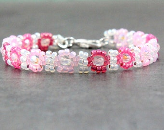 Girls Pink Ankle Bracelet - Children's Jewelry - Child's Anklet - Daisy Chain Seed Bead Anklet - Beaded Kids Jewelry